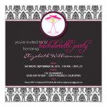 "Stylish Damask Bachelorette Invite (pink) 5.25"" Square Invitation Card"