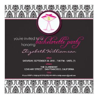 Stylish Damask Bachelorette Invite (pink)