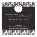 """Stylish Damask Bachelorette Invite (purple) 5.25"""" Square Invitation Card"""