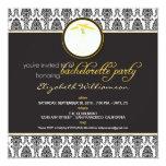 "Stylish Damask Bachelorette Invite (yellow) 5.25"" Square Invitation Card"
