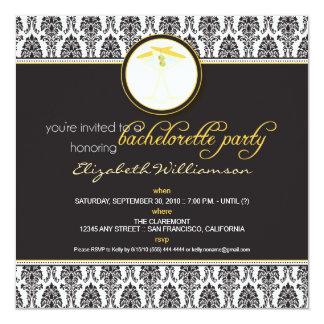 Stylish Damask Bachelorette Invite (yellow)