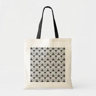 Stylish Damask Design, Black and White. Budget Tote Bag