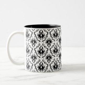 Stylish Damask Design, Black and White. Mug