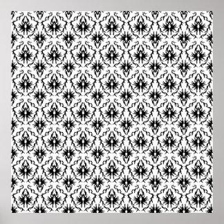 Stylish Damask Design, Black and White. Poster