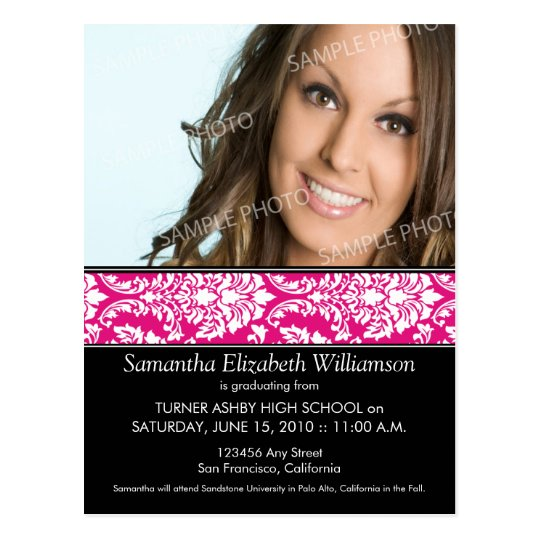 Stylish Damask Graduation Announcement (pink) 3 Postcard