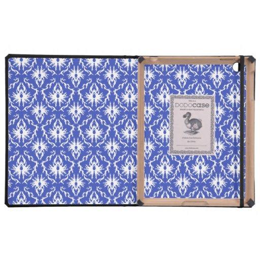 Stylish damask pattern. Blue and white. iPad Folio Cases