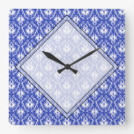 Stylish damask pattern. Blue and white. Square Wall Clocks