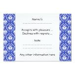 Stylish damask pattern. Blue and white. 3.5x5 Paper Invitation Card