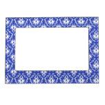 Stylish damask pattern. Blue and white. Frame Magnet