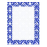 Stylish damask pattern. Blue and white. Postcard