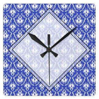 Stylish damask pattern. Blue and white. Square Wall Clock