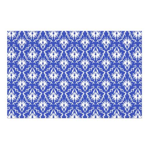 Stylish damask pattern. Blue and white. Stationery