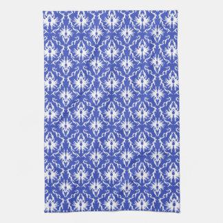 Stylish damask pattern. Blue and white. Towel