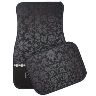 Stylish Damask Print in Black & Gray | Personalize Car Floor Mat