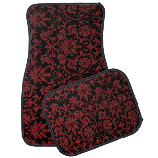 Stylish Damask Print in Maroon Red Car Mat