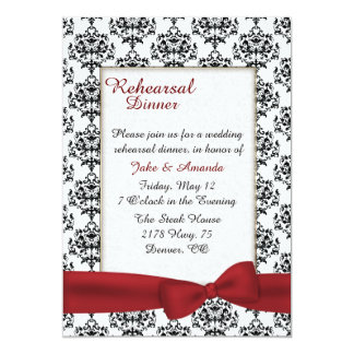 "Stylish Damask Wedding Rehearsal Dinner Invitation 5"" X 7"" Invitation Card"