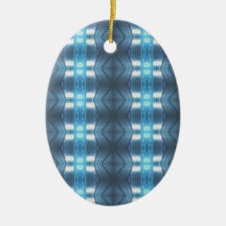 Stylish Dark and Light Blue Diamonds Ceramic Ornament