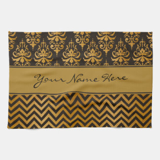 Stylish Dark Brown and Gold Damask and Chevrons Hand Towels