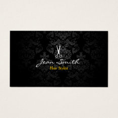 Stylish Dark Damask Hair Stylist Business Card at Zazzle