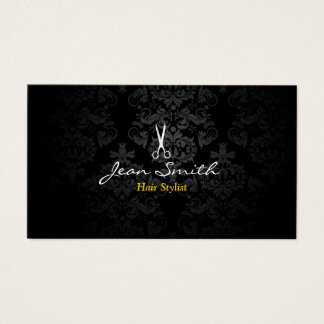Stylish Dark Damask Hair Stylist Business Card