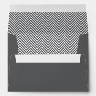 Stylish dark gray chevron zigzag pattern envelope