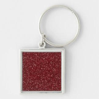 Stylish Dark Red Glitter Silver-Colored Square Keychain