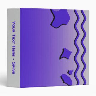 Stylish Deep Blue Waves, Abstract Design. Binder