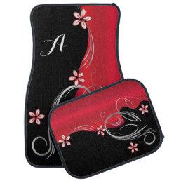Stylish Deep Red Floral Design | Monogram Car Floor Mat