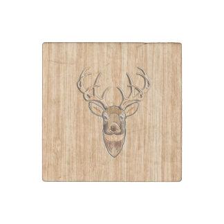 Stylish Deer Head Light Wood Grain Print Stone Magnet
