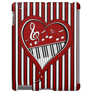 Stylish designer piano and music notes in Red blac Apple Ipad234 Case