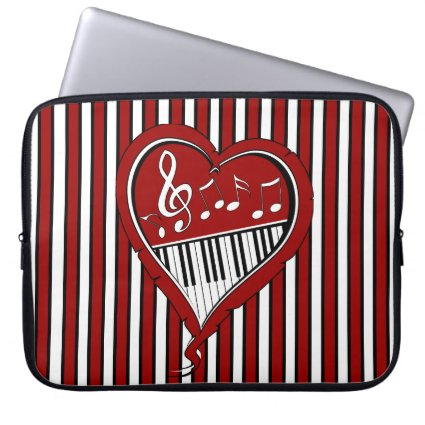 Stylish designer piano and music notes in Red blac Laptop Computer Sleeve