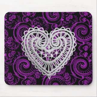 """Stylish Designs"" Crochet Heart/ Deep Fushia Mouse Pad"