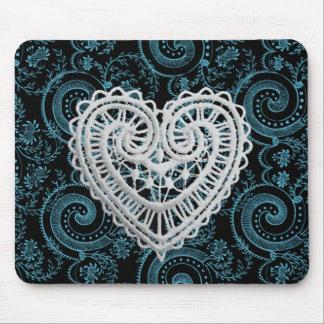 """Stylish Designs"" Crochet Heart/ Deep Teal Mouse Pad"