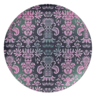 """Stylish Designs"" Embroidered Damask* Dinner Plate"