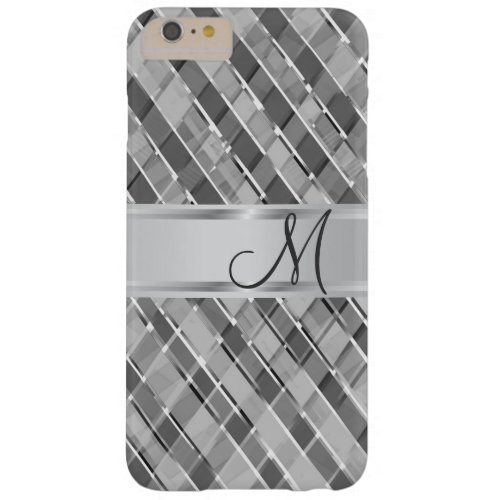 Stylish Diagonal Silver Stripes Monogrammed Barely There iPhone 6 Plus Case