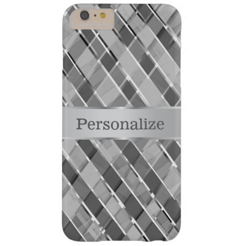 Stylish Diagonal Silver Stripes Personalized Barely There iPhone 6 Plus Case