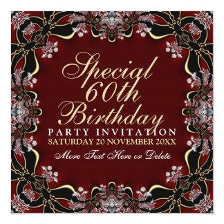 Stylish Diamond Elegance 60th Birthday Invitations