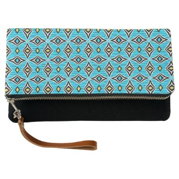 Aztec Themed Stylish diamond shaped design blue yellow white clutch