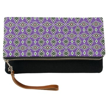 Aztec Themed Stylish diamond shaped pattern purple green clutch
