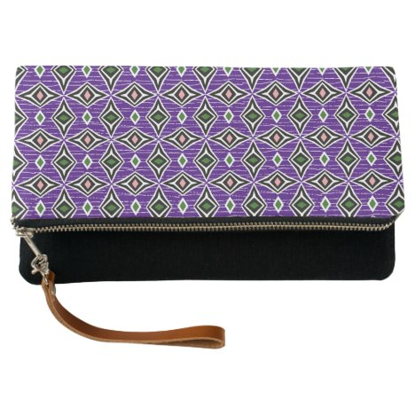 Stylish diamond shaped pattern purple green clutch