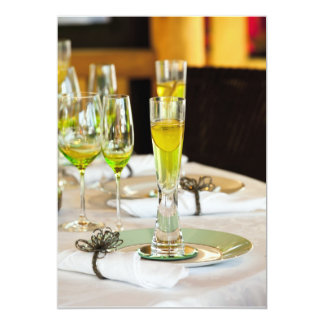 Stylish dining table arrangement close up card