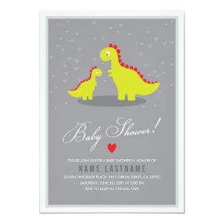 Stylish Dinosaur Grey Baby Shower Invitation