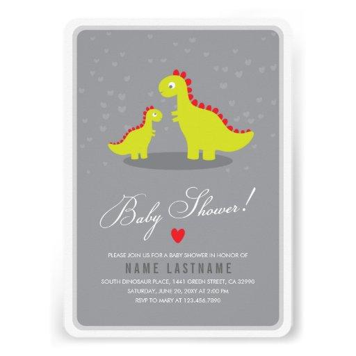 Stylish Dinosaur Grey Baby Shower Invite Rounded