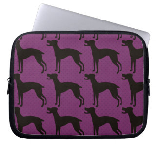 Stylish dog silhoette pattern laptop computer sleeves