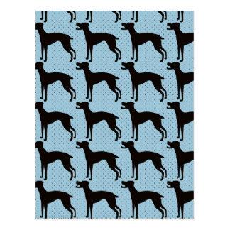 Stylish dog silhoette pattern postcard