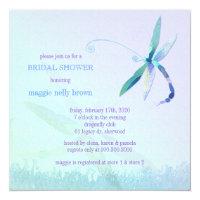 Stylish Dragonfly Blue Purple Bridal Shower Invitation