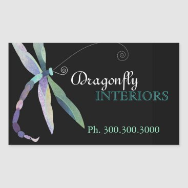 Stylish Dragonfly Business Promotional Rectangular Sticker