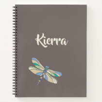 Stylish Dragonfly in Brown and Blue With Name Notebook