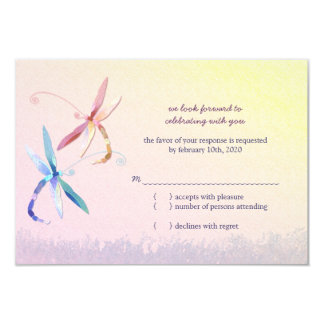 Stylish Dragonfly Wedding Reply Cards (3.5x5) Invite