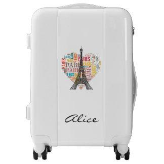 Stylish Eiffel Tower & Inscriptions Luggage